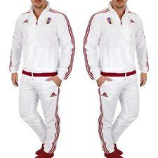 Adidas señores chándal chándal deportivo traje chaqueta pantalón set blanco/rojo S