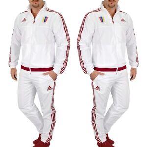 Adidas Men's Tracksuit Jogging Suit Sport Suit Jacket Trousers Suit White Red