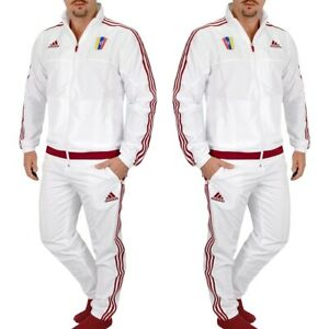 Adidas Herren Trainingsanzug Jogginganzug Sport Anzug Jacke Hose Suit weiss rot