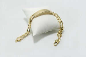 Men's Figaro Link Chain 10mm Wide x 9 inches long 18 Gold Layered ID Bracelet
