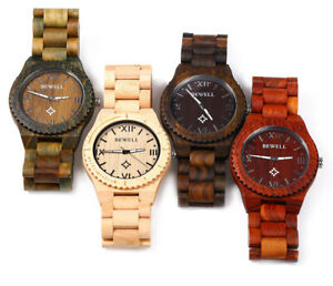 Mens Wooden/Wood Watch Eco Anologue Designer BEWELL Unisex New-Gift Boxed UK