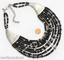 Chico's Signed Bib Necklace Silver Tone Black & Bali Multi Strand Beads