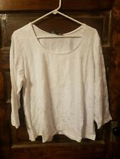 QVC Dialogue Stretch Knit Floral Jacquard 3/4 Sleeve Top, White, Sz XL. NEW