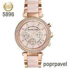 NEW Michael Kors Original MK5896 Women's Parker Rose Gold Blush Crystal Watch