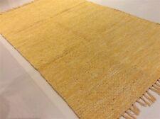 YELLOW MUSTARD Plain Cotton Reversible Washable Dhurrie Kilim RUG 90x150cm