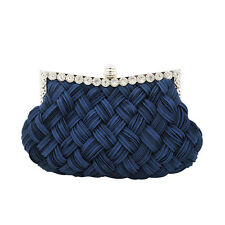 Braided Pleated Glitter Rhinestone Clutch Wedding Party Evening Bag Purse