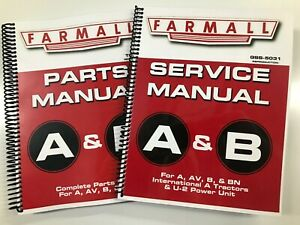 SERVICE MANUAL PARTS MANUAL FOR IH FARMALL A FARMALL B TRACTORS GSS-5031