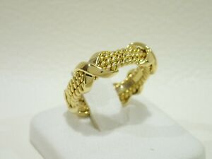 TIFFANY & CO. Schlumberger 18k yellow gold 3 row X band ring size 6.25