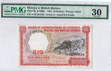 10 DOLLARS 1961 BUFFALO (MALAYA & BRITISH BORNEO) PMG30