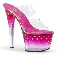 Pleaser STARDUST-702T Womens Clear Pink Clear Rhinestone Studded Platform Sandal