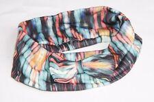 Mint Green Coral Orange & Black Streaked Tie Dye Print Bow Front Headband s141