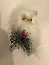 WHITE FEATHER OWL Pine Holly ORNAMENT w/Mackenze Childs Courtly Check Ribbon Bow