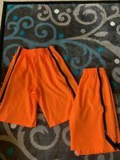 lot of 2 nike basketball shorts, orange and blue, size Large, nike dri fit