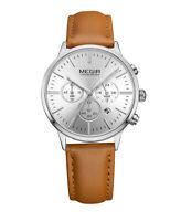 Womens Quartz Analog 3 Sub-dials Watch Brown Leather Band Fashion Silver Dial