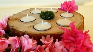 Hot Moss: tea light candle holder from large wood slice with preserved moss