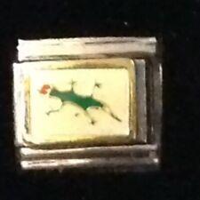 Green Lizard Gecko - Reptile Insect - Italian Charm Bracelet Link 9mm - D'LINQ