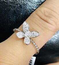 14k solid white gold natural diamond ring dainty Dragonfly April birthstone
