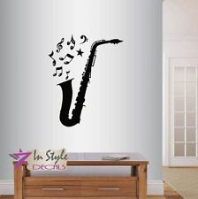 Vinyl Decal Saxophone with Musical Notes Instrument Music Jazz Wall Sticker 2376