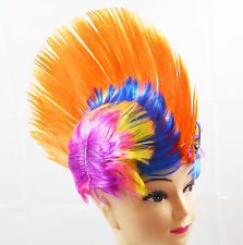 Orange Mohawk Punk Kids Fancy Dress Wig Adults Party Cosplay Stag Novelty Wigs