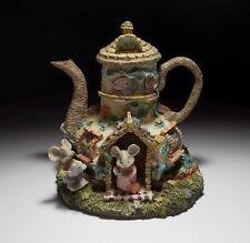 Miniature Teapot Cottage Hand Paint Collectible Figurine Mouse N House