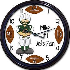 "New York Jets Personalized Custom #1 Fan Wall Clock NFL Football Smith New 10"""