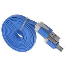 Colorful 3-10Ft Flat Noodle Micro USB Charger Sync Data Cable for Android Phone