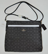 NWT COACH F58285 Outline Signature Shoulder Crossbody Bag Smoke/Black Purse