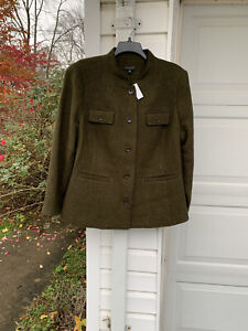NWT Talbots Beautifully Made Olive Green Wool Front Pockets Lined Blazer 16W 1X