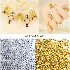1000 Caviar Beads Wheel Gold Silver Nail Art Metal Micro Balls Decoration Gems