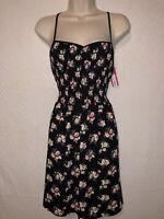 Women's XHILARATION Black Floral Print Dress  Size Medium New With Tag