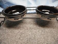 NEW Signature FISH BONE Ceramic Cat Pet Food Water Bowls with Metal Stand