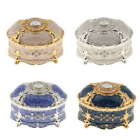 Vintage Enameled Oval Decorative Collectible Jewelry Trinket Box for Women