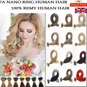 "1 GRAM 14""-24"" Nano Ring Tip Micro Bead Human Hair Extensions 1g Double Drawn UK"