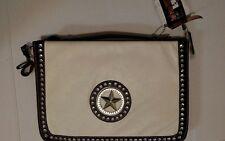 Silverake by J.C Rhinestone/Soft Leather/Texas Logo Briefcase/Computer Bag/Cream