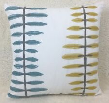 "John Lewis Agnetha Fabric Cushion Cover 16x16"" Citrine/Teal Embroidered, Scandi"