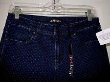 "JUST FAB Polka Dot Skinny Jeans-28 (29"" waist), navy & white  NWT"