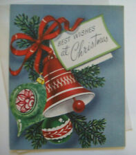 Bulbs Ornaments & bells 50's Mcm vintage Christmas greeting card unused *7B