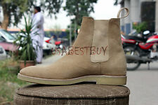 New Pure Handmade Men Beige Chelsea Suede Leather Boots, leather boot crepe sole