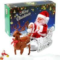 Christmas Electric Santa Claus in Sleigh with Reindeer Deer Ornaments Xmas Toys