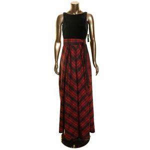 LAUREN RALPH LAUREN NEW Women's Velvet-bodice Plaid Ball Gown Dress TEDO