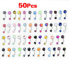 50 MIX Assorted Ball Belly Navel Barbell Bars Rings Body Piercing HY