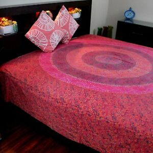 Cotton Sanganer Floral Mandala Tapestry Wall Hanging Bedspread Twin 72x108 Red