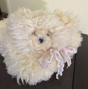 VTG SHEEP Sheepskin Genuine Fur Hide Pelt Country Living Monarch Bear Pillow