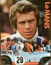 "LE MANS STEVE MCQUEEN ORIGINAL 17""X22"" GULF PROMO 1971 POSTER CAR RACING MINT"