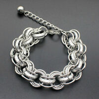 Men Punk Stainless Steel Curb Figaro Chain Wristband Clasp Cuff Bangle Bracelet