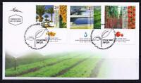 ISRAEL 2011 AGRICULTURE ACHIEVEMENTS 3 STAMPS ON FDC TOMATO DATE WATER FIELDS