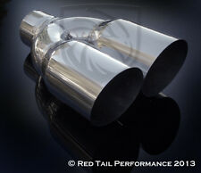 """SS Dual Round Angled 3.5"""" OD Exhaust Muffler Tip w 2.5"""" Inlet ID & 10"""" Long"""