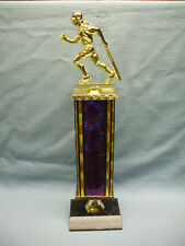 Female Softball trophy black finish base award purple wide column