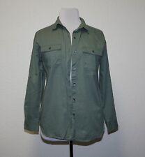 "Old Navy ""Boyfriend"" Green Twill Button-Front Oversized Shirt Women's Large L"