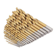 19Pcs HSS Drill Bit Set Titanium Coated Twist 1-10mm DIY Metal Woodworking